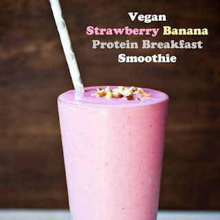 Vegan Strawberry Banana Protein Breakfast Smoothie.