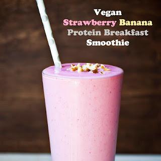 Vegan Strawberry Banana Protein Breakfast Smoothie.