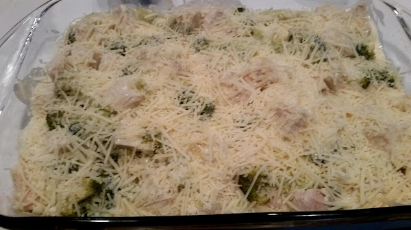 Preheat oven to 350 degree F.  Grease a 9 x 13 baking dish. Spread about...