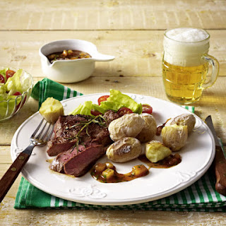 Steak with Salt Crusted Potatoes and Pineapple Sauce.