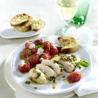 Chicken Filet with Herb Crust and Cherry Tomatoes.