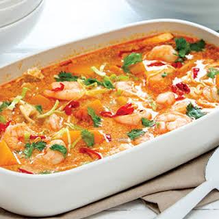 Thai Red Curry with Pumpkin, Cabbage & Prawns.