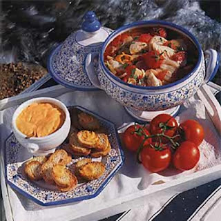 Fish Soup with Tomatoes and Red Pepper-Garlic Sauce.
