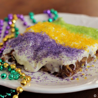 King Cake Bread Pudding with Bourbon Cream Cheese Frosting.