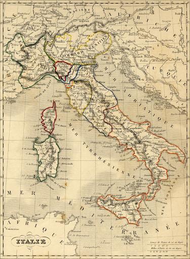 Les États italiens en 1843.