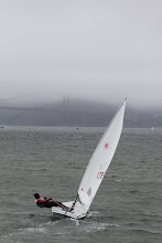 Photo: But there is no-one between him and the buoys in front of the Golden Gate Bridge and he hikes out and heads on to victory in this race.