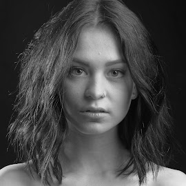 Miss K. by Michaela Firešová - Black & White Portraits & People ( black and white, female, portrait )