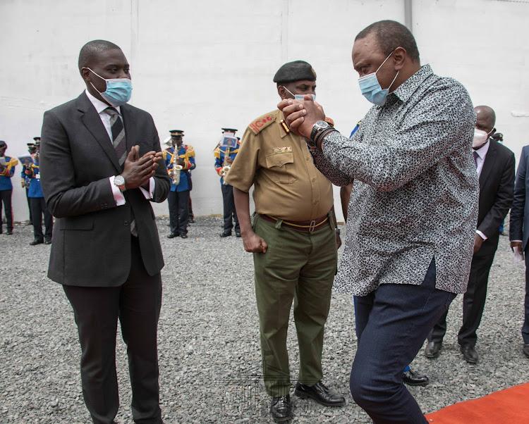President Uhuru Kenyatta arrives at the Kenya Railways Transit Shed in Nairobi County./PSCU
