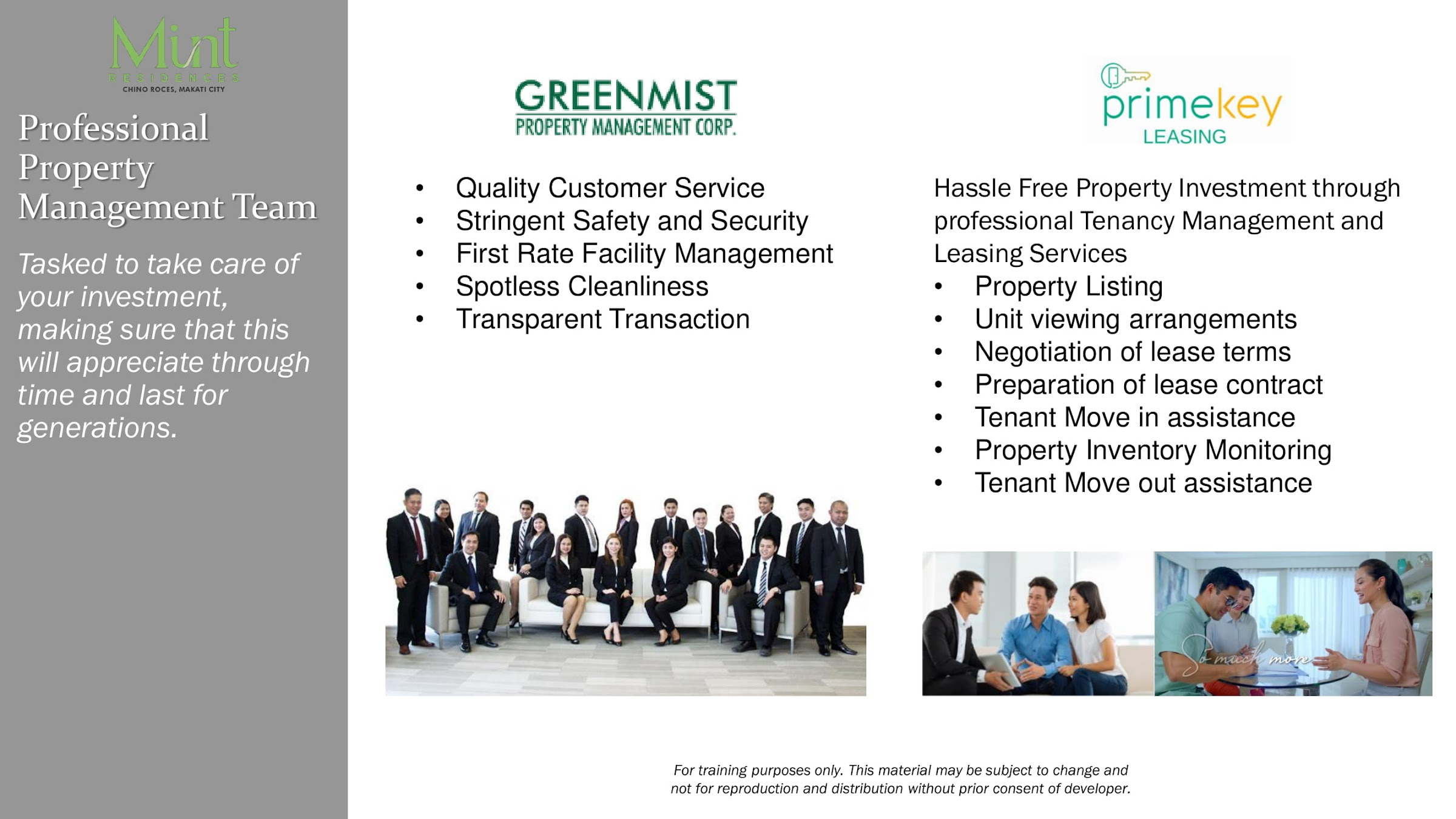 Mint Residences, Chino Roces Makati professional property management team