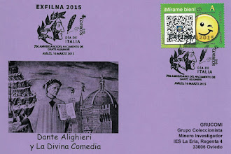 Photo: Tarjeta con el matasellos de la EXFILNA 2015 de Avilés, dedicado a Dante Alighieri en el día de Italia