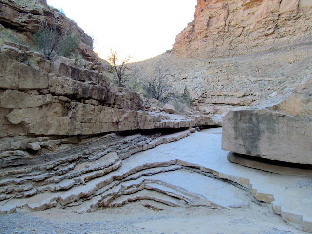 Sandstone layers in the watercourse