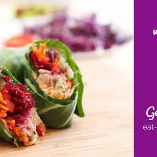 Veggie-Stuffed Tuna Collard Wraps.