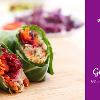 Veggie-Stuffed Tuna Collard Wraps.