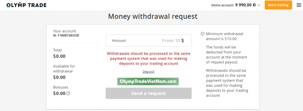 Thông tin cần thiết về tài khoản olymp trade