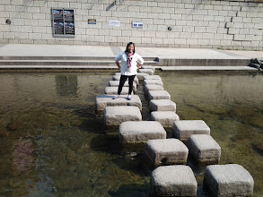 Photo: Mama Chelle in the middle of Cheonggyecheon Stream!