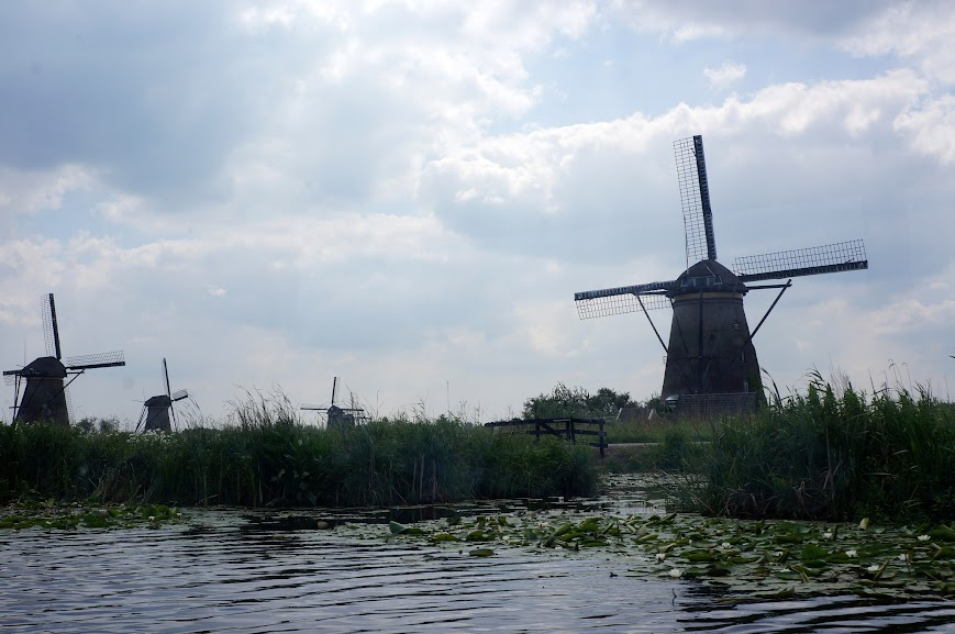 Mills along the banks in Kinderdijk, Holland (2014)