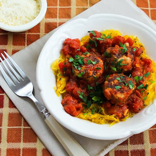 Roasted Spaghetti Squash with Homemade Tomato-Garlic Sauce and Chicken Sausage Meatballs.
