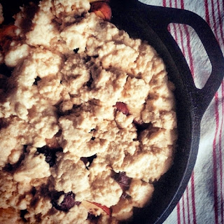 Johnny Cake Cobbler, with a dash of cranberries