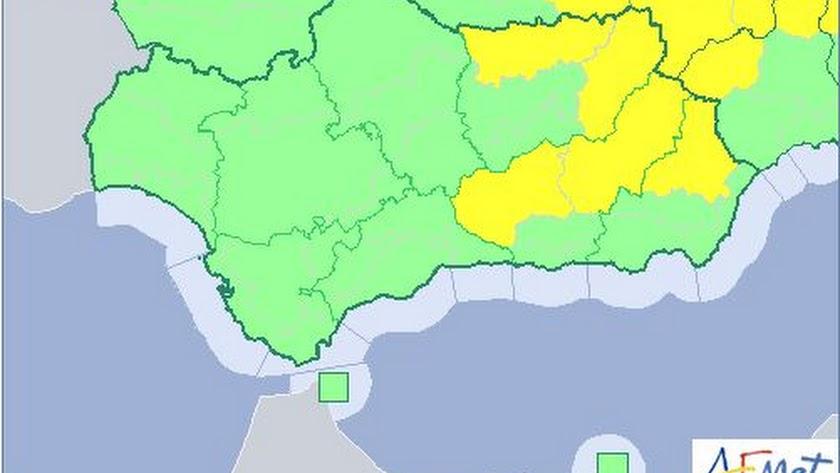 Almería, Granada y Jaén estarán este jueves en alerta amarilla.
