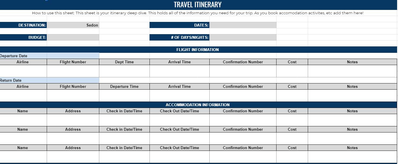 Travel itinerary spreadsheet
