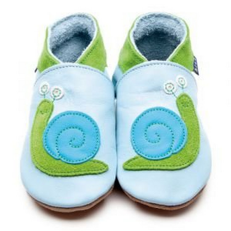Inch Blue Soft Sole Leather Shoes - Snail Baby Blue (6-12 months) by Berry Wonderful