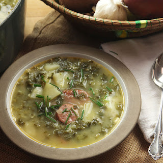 Caldo Verde (Portuguese Potato and Kale Soup With Sausage).