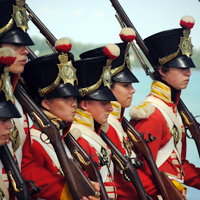 Eyes Front by David Clare - People Street & Candids ( muskets, soldiers, living history, re-enactors, canadian, fort malden, black powder, red coats,  )