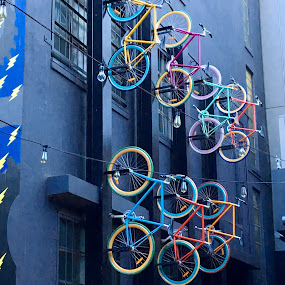 Up the wall, Melbourne  by Di Mc - Novices Only Objects & Still Life ( bicycles, bikes, melbourne, australia, art,  )