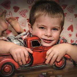 My Truck by Chris Cavallo - Babies & Children Child Portraits ( heart, red, maine, truck, white valentine's, boy )
