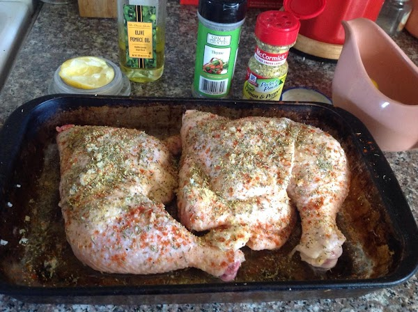 Thaw, Wash and pat dry 2 lg. pieces of chicken. Place in baking dish.