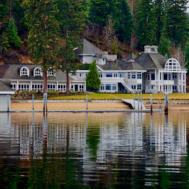 Life on the Lake by Barbara Brock - Buildings & Architecture Homes ( lakeside living, pier, vacation home, luxury living, dock, mansion, home )