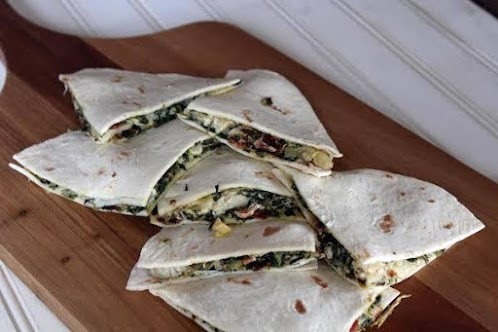 Spinach and Artichoke Quesadilla with Bacon
