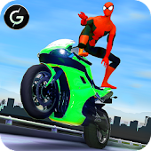3D Hero Super Spider Rider - Moto Traffic Shooter