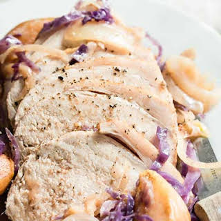 Slow Cooker Pork Roast with Apples and Onions.