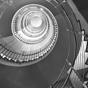 Spiral Staircase by Heather Diamond - Buildings & Architecture Architectural Detail ( railings, stairs, black and white, staircase, pwcdetails, diamond photography, diamond photo, spiral, circle )