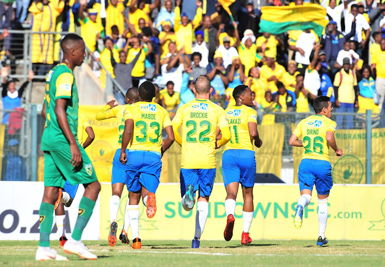 Sibusiso Vilakazi celebrates with his Mamelodi Sundowns after scoring the opening goal in a 2-0 MTN8 quarterfinal win over Lamontville Golden Arrows at Lucas Moripe Stadium, Pretoria on August 11 2018.