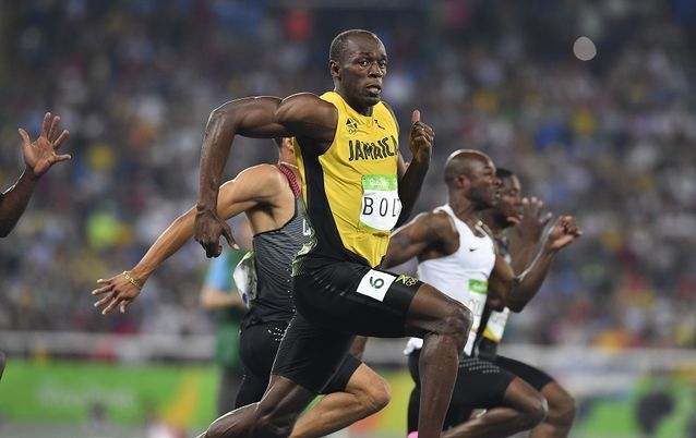 Usain Bolt of Jamaica in the semi final of the mens 100m during the evening session on Day 9 Athletics of the 2016 Rio Olympics at Olympic Stadium on August 14, 2016 in Rio de Janeiro, Brazil. Picture: ROGER SEDRES/GALLO IMAGES