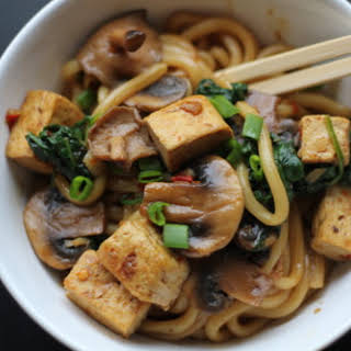 Udon Noodles with Tofu, Mushrooms and Spinach.