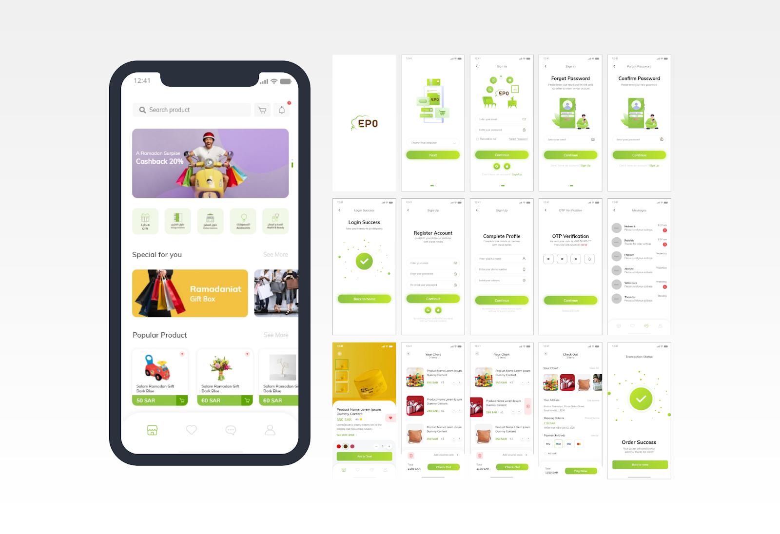 E-Commerce Mobile Application UI/UX Design - YelloStack Mobile Application Development Company in Saudi Arabia
