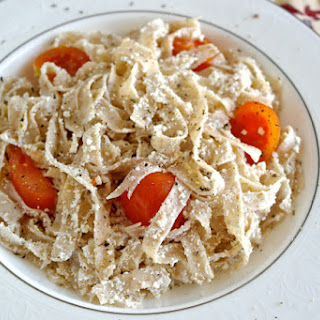 Greek Pasta with Mizithra Cheese and Cherry Tomatoes.
