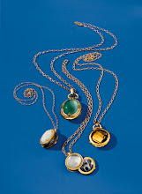 Photo: MONICA RICH KOSANN Exclusively ours. Collection of 18k gold stone lockets. One-of-a-kind crystal opal locket with diamonds on 26″ chain. $18,875. One-of-a-kind green cat's-eye beryl locket with white and black diamonds on 30″ chain. $45,000. Faceted milky quartz locket with diamonds on 18″ chain. $8,500. Limited-production faceted citrine locket with scalloped detail on 26″ chain. $16,400. Seventh Floor. 212 872 2686