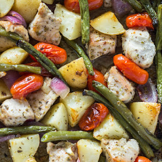 Easy One Pan Roasted Chicken & Potatoes.