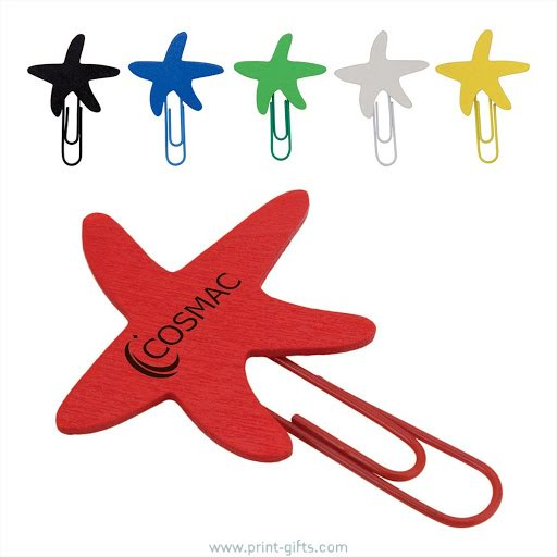 Wooden Star Printed Paperclip