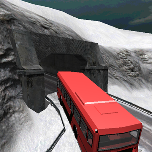 Bus Driving Snowy Mountains