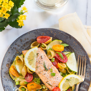 Baked Salmon and Easy Pasta Salad Recipe