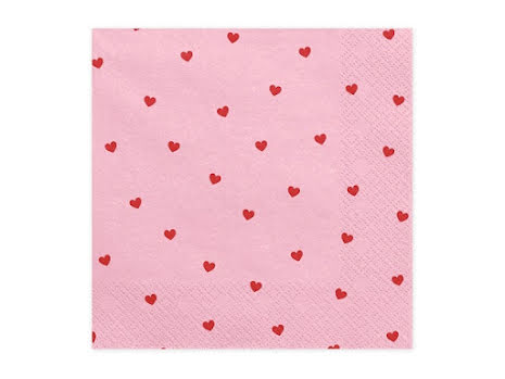 Servetter - Ljusrosa med rosa hjärtan