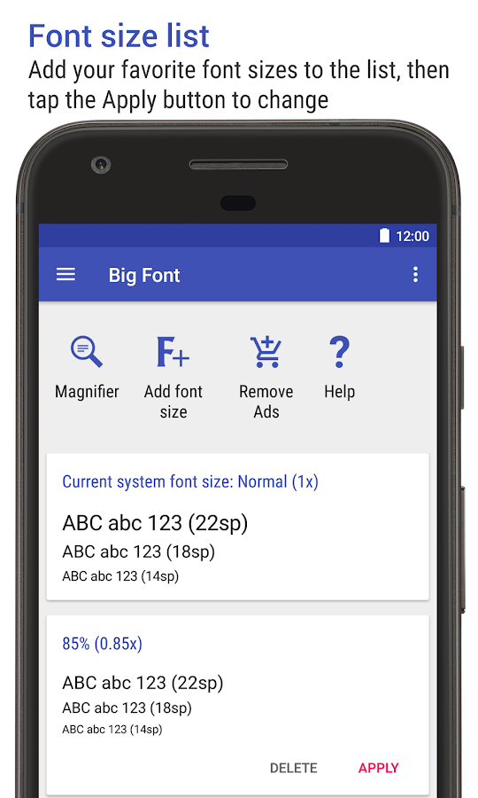 Big Font (change font size & display size)- screenshot