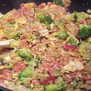 """Ten Minute Veggie Fried """"Rice"""" with Ham (Low Carb) Yum."""