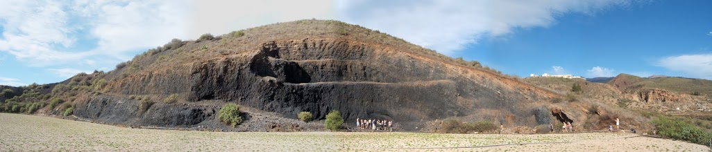 Photo: Scoria cone panorama viewed across potato fields near San Miguel de Abona in Tenerife.