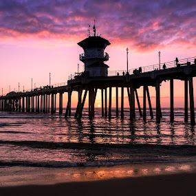 The Huntington Pier by Tim Davies - Buildings & Architecture Bridges & Suspended Structures ( purple, cali, waves, sunset, california, pier, ocean, huntington pier, beach, huntington beach,  )